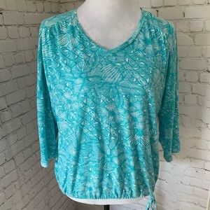 Chico's teal tropical vneck top